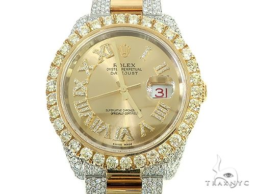 Two Tone Mens Diamond DateJust 41mm Rolex Watch 65813 Diamond Rolex Watch Collection