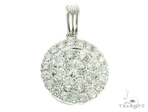 14K White Gold Diamond Round Cluster Pendant 65821 Stone