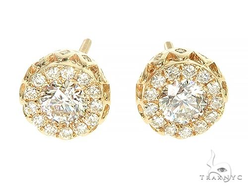14K Yellow Gold Diamond Stud Earrings 65824 Stone