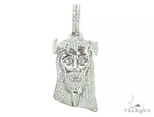14K White Gold Diamond Star Crown Jesus Pendant 65839 Style