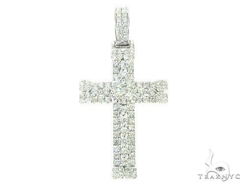 14K White Gold Diamond Cross 65840 Diamond Cross Pendants