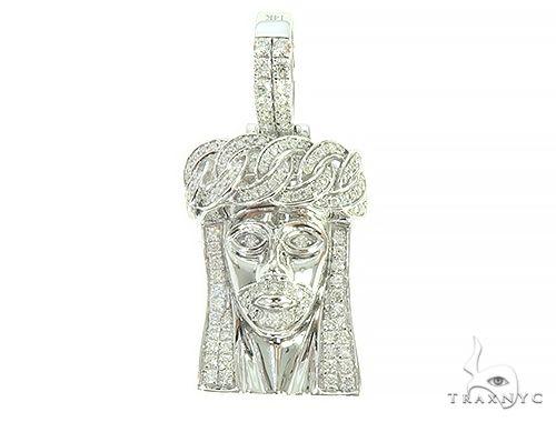 14k White Gold Diamond Cuban Link Crown Jesus Pendant 65841 Style