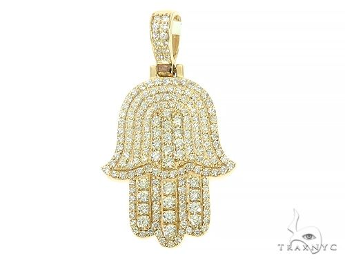 14K Yellow Gold Diamond Hamsa Pendant 65843 Metal