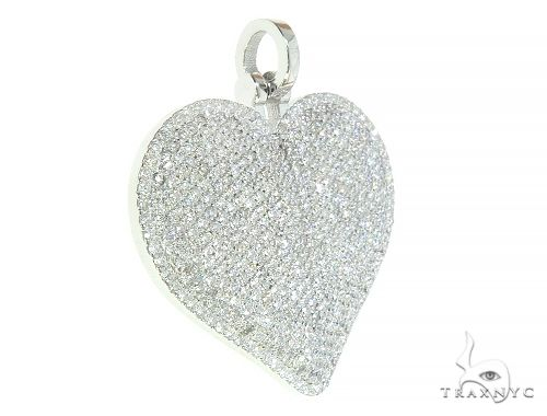 14K White Gold Diamond Heart Pendant 65846 Stone