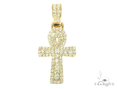 14K Yellow Gold Diamond Ankh Cross Diamond Cross Pendants