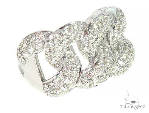 14K White Gold Miami Cuban Link Diamond Ring 65850 Stone
