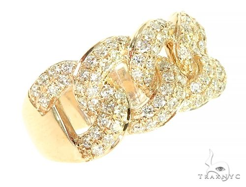14K Yellow Gold Miami Cuban Link Diamond Ring 65851 Anniversary/Fashion