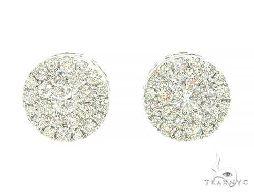 14K White Gold Cluster Stud Earrings 65852 Style