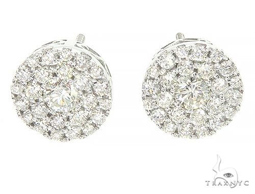 14K White Gold Cluster Stud Earrings 65853 Style