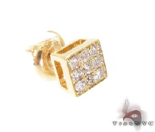 14YG Small Three Row Diamond Earrings 65854 Stone