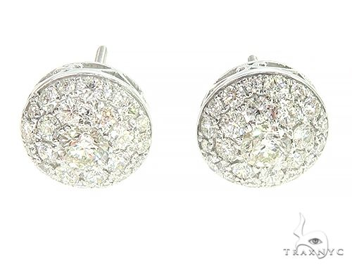 14K White Gold Cluster Stud Round Earrings 65855 Style