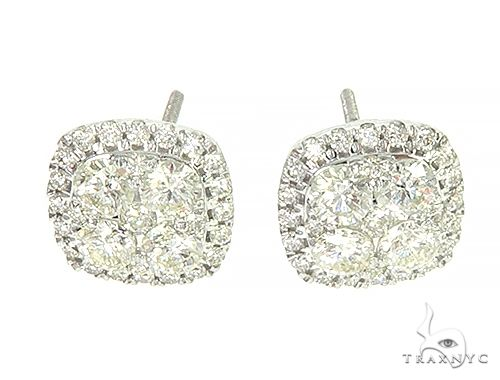14K White Gold Cluster Stud  Cushion Shape Earrings 65856 Style