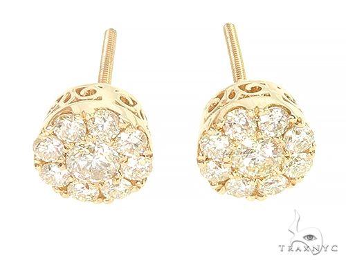 14K Gold Cluster Stud Earrings 65857 Style