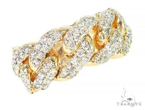 14K Yellow Gold Diamond Cuban Link Ring 65860 Stone