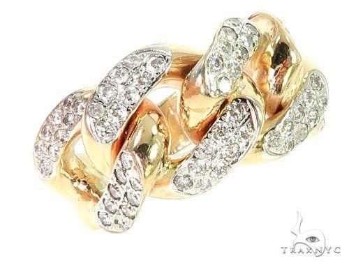 14K Yellow Gold Diamond Cuban Link Ring 65861 Stone