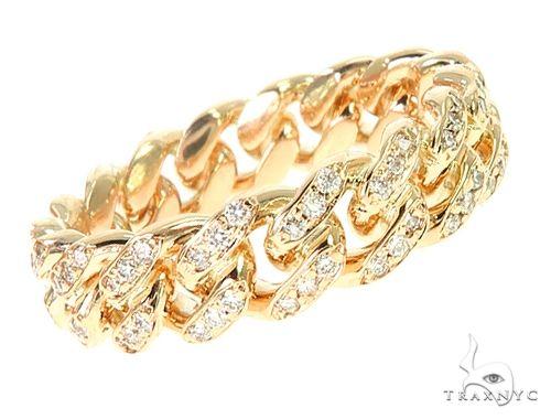 14K Yellow Gold Diamond Cuban Link Ring 65863 Stone