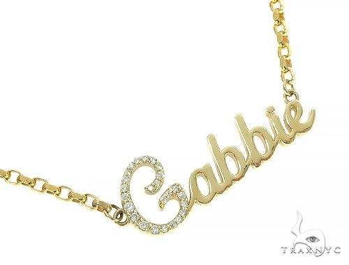 14K Yellow Gold Gabbie Dimond Name Pendant 65868 Diamond
