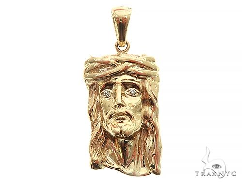 Small Solid 10K Gold Jesus Pendant 56770 Style