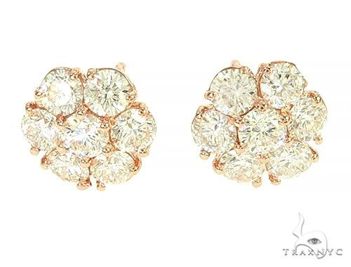 Diamond Flower Stud Earrings 65870 Stone