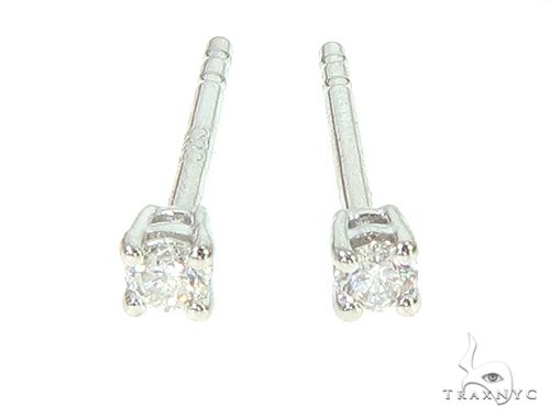 14K White Gold Solitaire Earrings 65873 Stone