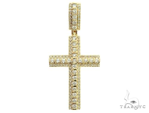 10K Yellow Gold Tension Diamond Cross 65877 Metal