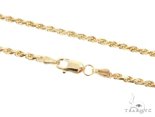 14K Yellow Gold Diamond Cut Solid Rope Chain 24 Inches 2.4mm 11.2 Grams 65924 Gold