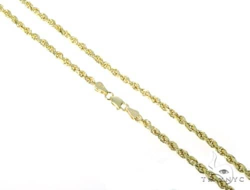 10KYG Hollow Rope Chain 24 Inches 3mm 5.30 Grams 65934 Gold