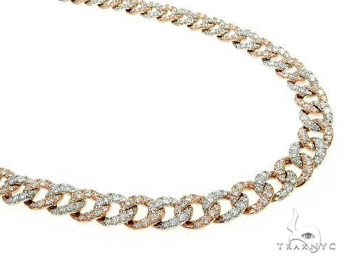 14K Two Tone Gold Diamond Cuban Link Chain 8mm 24 Inches 64.80 Gr 65938 Diamond