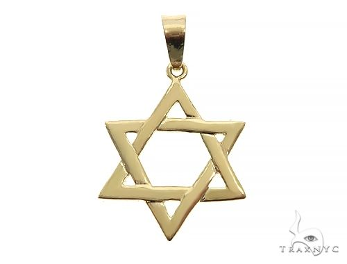 14K Yellow Gold David Star Pendant 65943 Metal