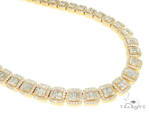 Baguette Invisible Diamond Chain 21 Inches 10mm 35.15ct 152.00 Grams 65949 Diamond