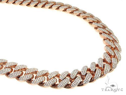 Three Row Diamond Cuban Link Chain 490.00 Grams 26 Inches 15mm 65951 Diamond