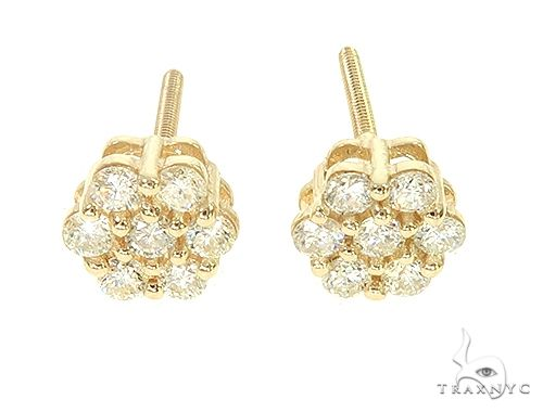 14K  Gold Diamond Flower Stud Earrings 65955 Stone
