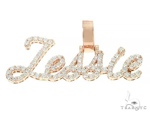 14K Rose Gold Jessie Diamond Name Pendant 65958 Stone