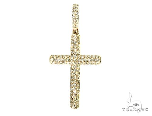 14K Yellow Gold Diamond Cross 65952 Diamond