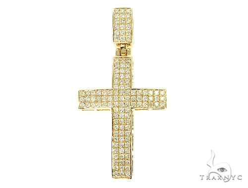 14K Yellow Gold Diamond Cross Pendant 65953 Diamond