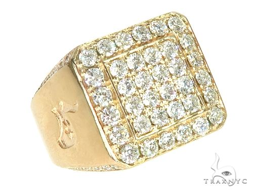 14K Yellow Gold Diamond TraxNYC Ring With Logo 65963 Stone