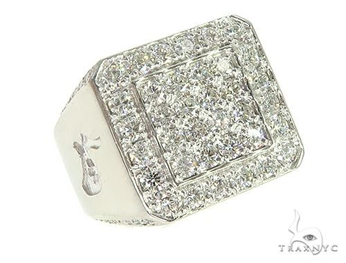 14K White Gold Diamond TraxNYC Ring With Logo 65962 Stone