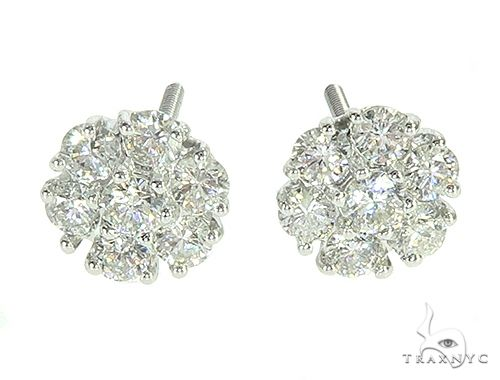 14K White Gold Diamond Cluster Stud Flower Earrings Stone