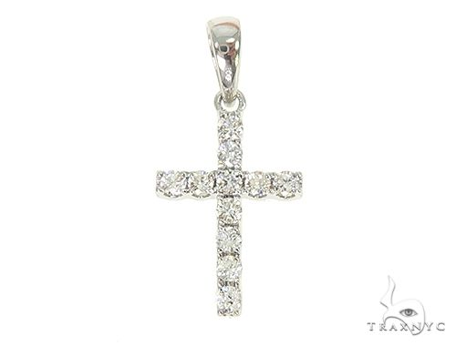 14K White or Yellow Gold Small Diamond Cross 65967 Diamond Cross Pendants