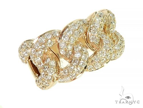 14K Yellow Gold Miami Cuban Link Diamond Ring 65969 Anniversary/Fashion
