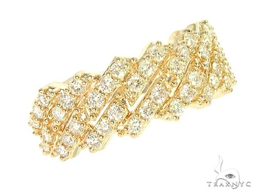 14K Yellow Gold One Row Diamond Cuban Link Ring 65971 Stone
