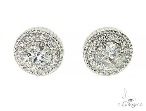 14K White Gold Cluster Stud Diamond Earrings 65974 Stone