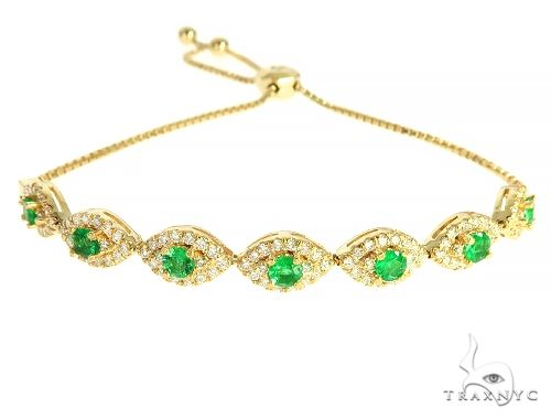 14K Yellow Gold Ladies Emerald Diamond Bracelet 65975 Diamond