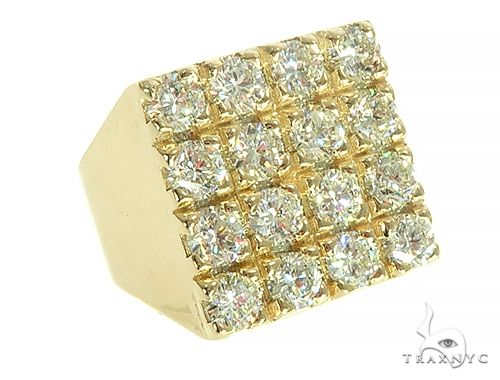 10K Yellow Gold 4 Row Diamond Ring Stone