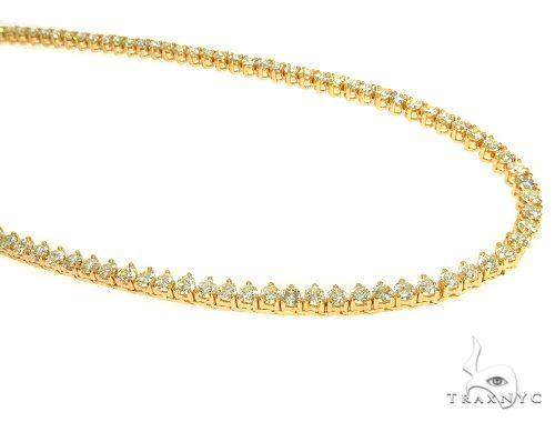 14K Yellow Gold Three Prong Diamond Tennis Chain 22 Inches 3.5mm 17.33ct 31.80 Grams 65992 Diamond