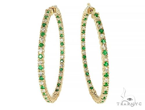14K Yellow Gold Emerald & Diamond Hoops Earrings 65994 Style