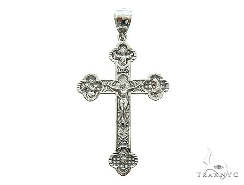 10K White Gold Jesus Cross Crucifix 66000 Gold