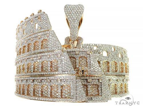 Rome Coliseum 3 Dimensional Diamond Pendant 66002 Hip Hop Pendants