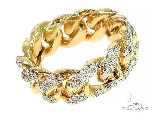 14K Yellow Gold 2 Row Cuban Link Diamond Ring 66019 Stone