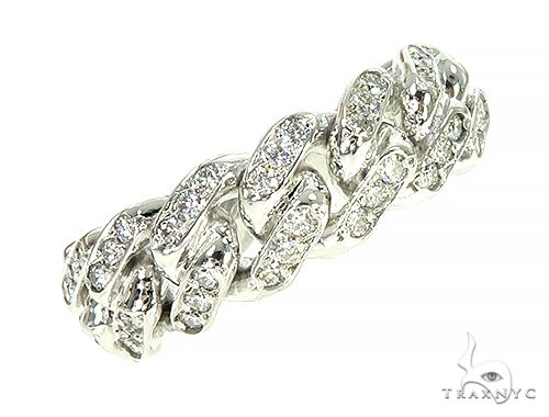 14K White Gold 1 Row Cuban Link Diamond Ring 66020 Stone